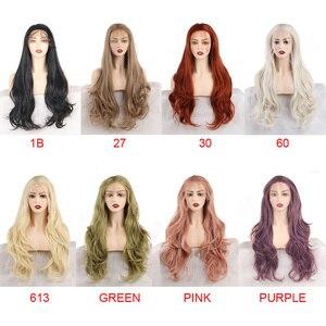 Image 4 - Leeven peluca con malla frontal rojo cobrizo largo ondulado, sintética, 24 pulgadas, rosa, naranja, morado, pelucas con minimechones, peluca de jengibre rubio 613