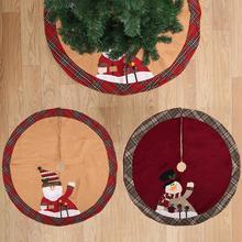 105 см хлопковый льняной Рождественский дерево юбка круглый ковер рождественские украшения для дома коврик