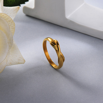 BAOYAN Korean Version of Small Fresh X Shaped Winding Ring Simple Three Dimensional Rings Gifts for Women image