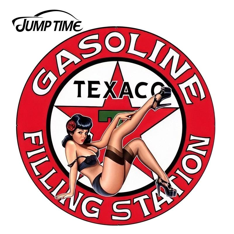 JumpTime 13cm X 13cm Car Stickers Texaco Gasoline Pinup Girl Vinyl Wrap Sexy Beauty Car Decal Sticker Racing