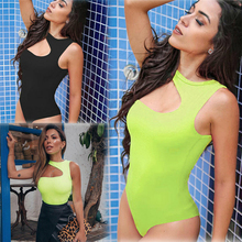 1PC Black Green Women Leotard Jumpsuit Bodycon Backless Bodysuit Sleepwear Sleev