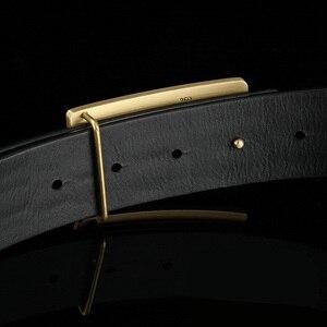 Image 3 - גברים של חגורת עור פרה חגורות מותג אופנה מוצק פליז חלק אבזם שחור אמיתי עור לגברים ג ינס עסקים 3.8cm