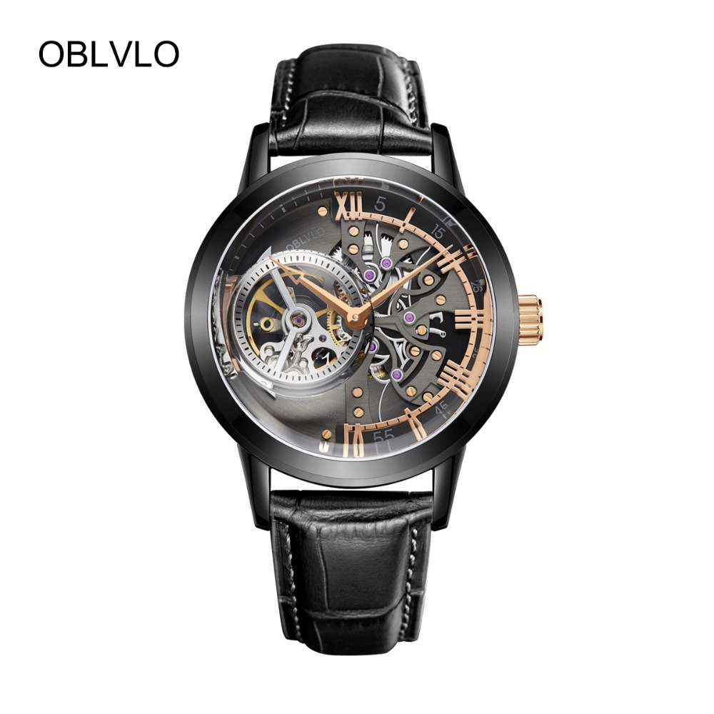 OBLVLO Designer Fashion Watches For Men Skeleton Dial Black Steel Automatic Self-Wind Watches Genuine Leather Strap VM 1
