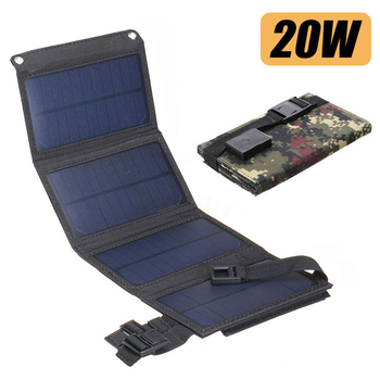 SunPower Folding 20W Solar Cells Charger 5V 2A USB Output Devices Portable Waterproof Solar Panel for Smartphone Battery Charger flexible solar panel plate 12v 5v 10w 20w 30w solar charger for car battery 12v 5v phone battery sunpower monocrystalline cells