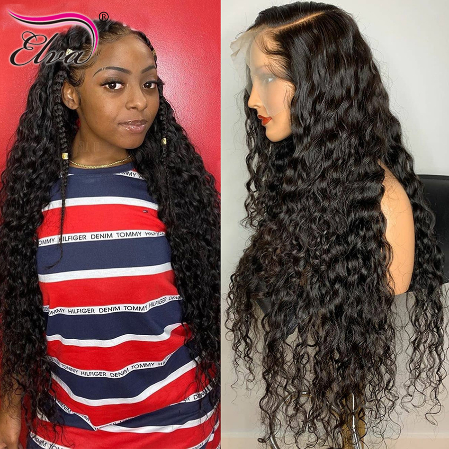 360 Lace Frontal Wig Brazilian Curly Lace Front Human Hair Wigs With Pre Plucked Baby Hair 180% Density Elva Remy Hair 10-24''