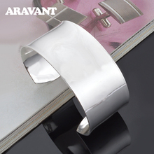 925 Silver 30mm Big Smooth Bracelet&Bangle For Men Women Fashion Couple Jewelry Gifts