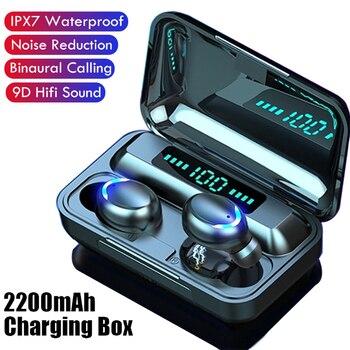 TWS F9 Earphone V5.0 Stereo Wireless Headset Sport Waterproof Bluetooth-compatible Earphones Mini Touch Control Noise Cancelling 1