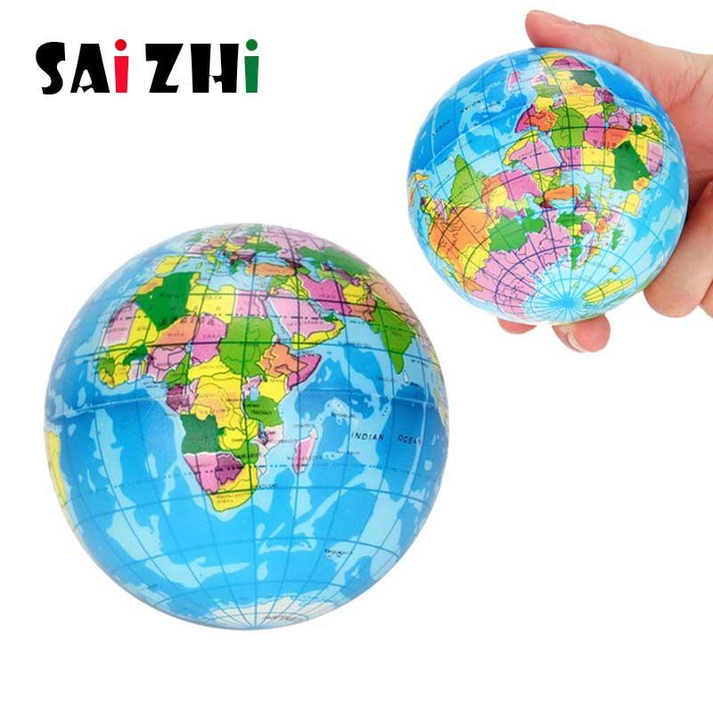 Saizhi PU Slime Squish Sponge Ball Funny Foam Bouncy Ball Tellurion For Decompression Worldmap Rebound Education Toys SZ2023