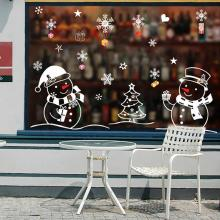 цена на 1 Set PVC Christmas Snowman Pattern Removable Sticker Wall Glass Window Removable Easy to Apply Home Decor