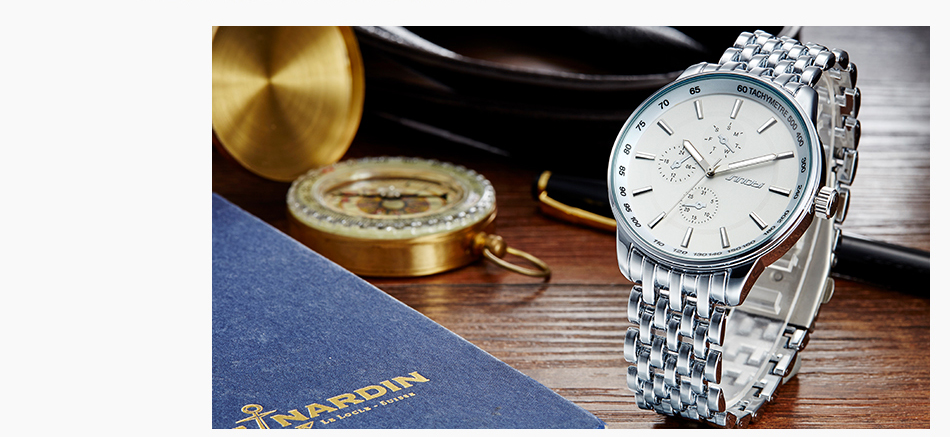 dos homens moda casual aço inoxidável relógio