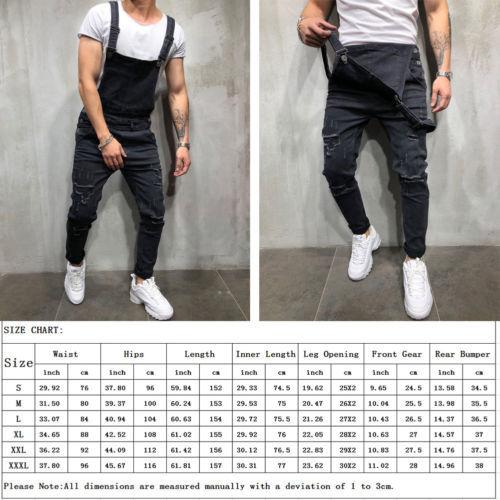 Fashion Men Pants Ripped Jeans Overalls Jumpsuits Hi Street Distressed Denim Bib Overalls For Man Suspender Pants Size S-XXXL 2