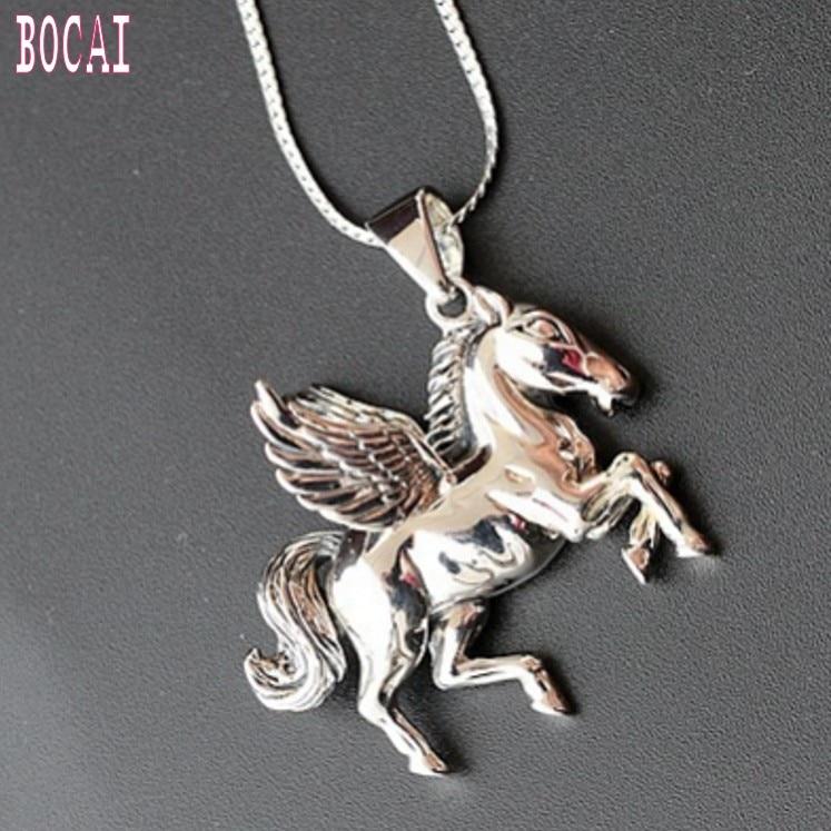 Genuine 925 Sterling Silver Jewelry Flying Horse Pendant Men's Punk Vintage Thai Silver Pendant Men's Silver Pendant