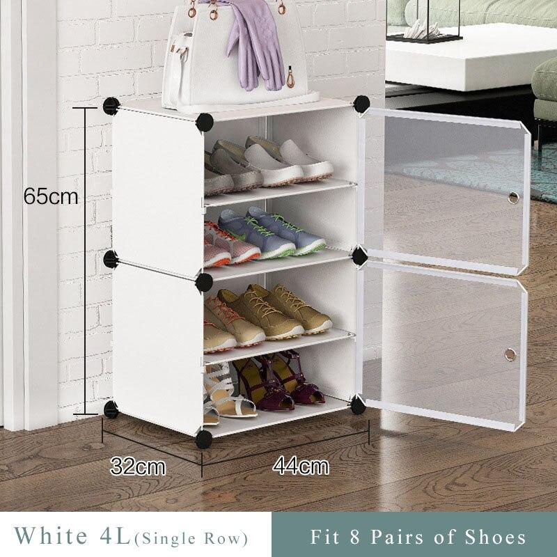 Multilayer Einfache Schuh Rack Platzsparend Schuhe Stiefel Organizer Closet DIY Montiert Modul Schuh Schrank mit Tür Hause Möbel