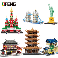 World Famous Architecture Building Blocks Saint Basil's Cathedral Chinese Style House Statue Liberty Bricks Toys Gifts for Kids
