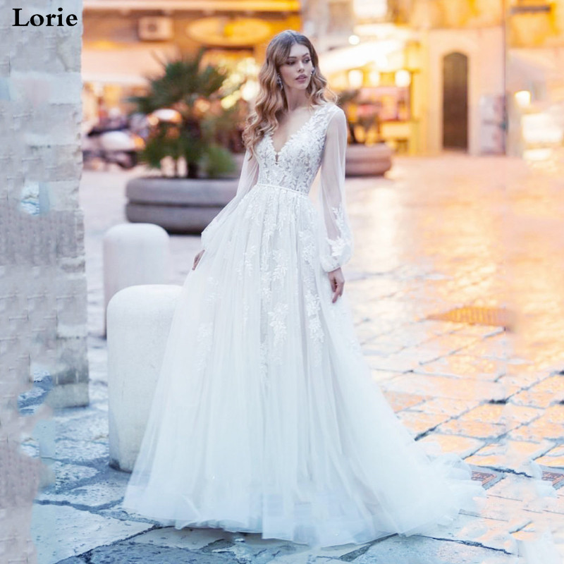 LORIE 2020 Appliques A-Line Wedding Dress Lantern Sleeves Tulle Boho Wedding Gowns Vestido De Novia Princess Wedding Party Dress