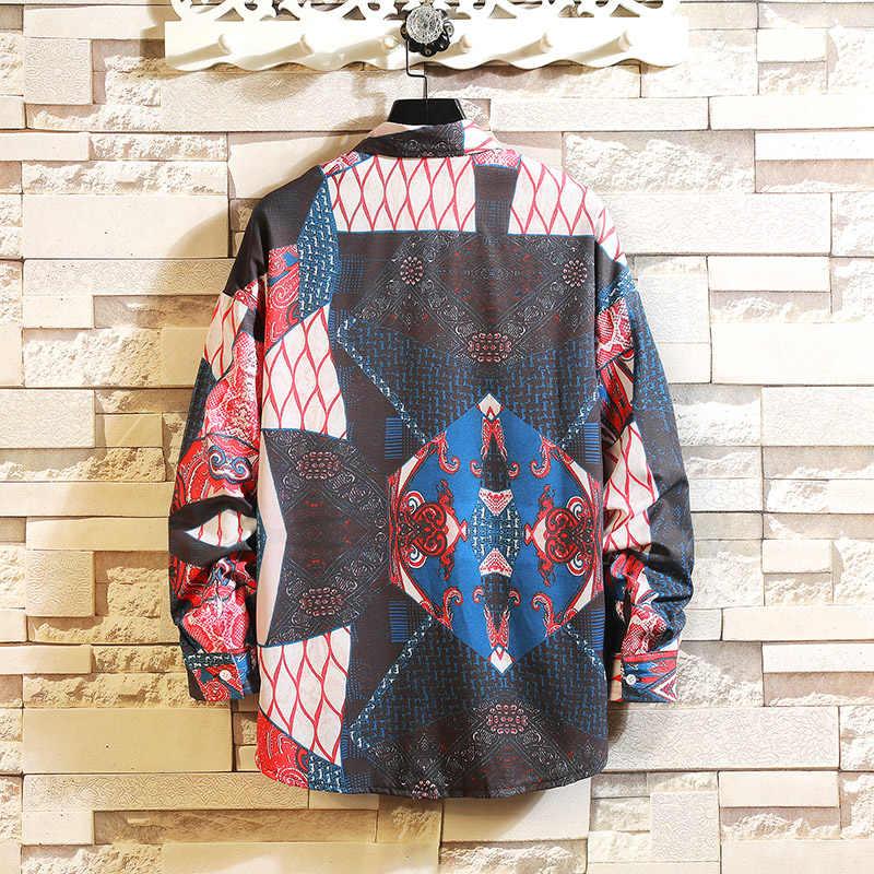 男性長袖シャツルーズ日本ストリートファッション 2019 プリントカジュアルシャツプラスアジアサイズ M-5XL