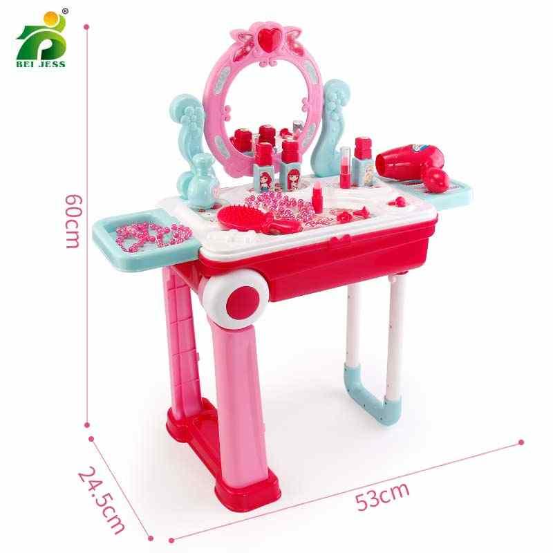 19Pcs בנות איפור צעצוע פלסטיק סט ילדים להעמיד פנים לשחק נסיכת משחק ורוד לק שפתון שינוי מזוודה צעצועים לילדים