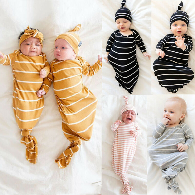 Cute Baby Sleeping Bags Newborn Infant Cocoon Swaddle Wrap Envelope 100%Cotton Baby Blanket Striped Swaddling Wrap Sleep Sack