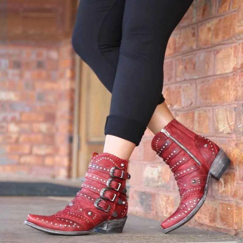 ECN Nữ Mắt Cá Chân Giày Dropshipping Mới Mùa Thu Và Mùa Đông Khóa Gót Thấp Nữ Giày Nữ Thoáng Mát Anh Thiết Kế Đinh Tán Mềm Ngắn giày
