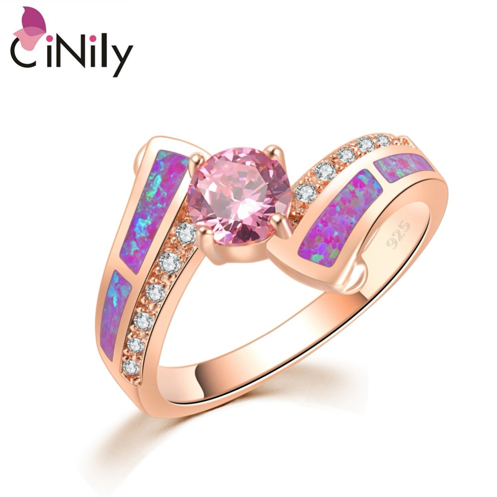 CiNily Timeless Violet Purple Fire Opal Rings Rose Gold Color Pink Cubic Zirconia Crystal Round Stone Classic Jewelry Women Girl