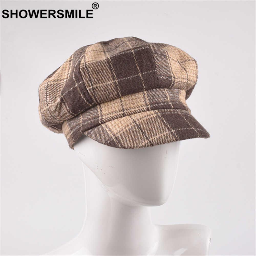 Showersmile Mũ Len Nữ Mùa Đông Kẻ Sọc Vàng Newsboy Nón Phong Cách Anh Quốc Nữ Phẳng Nắp Đen Nữ Mũ Nồi Len Hình Bát Giác Mũ