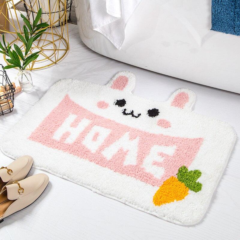2020 New Animal-Shaped Flocking Cartoon Floor Mat Household Bathroom Bathroom Door Absorbent Anti-Slip Mat Carpets and Rugs