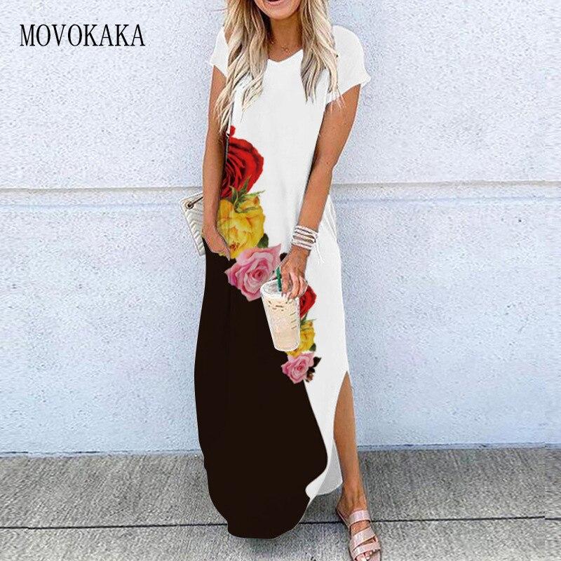 MOVOKAKA 3D принт черный, белый цвет платье 2021 летние пляжные повседневные штаны размера плюс длинные платья элегантная женская обувь; Большие р...