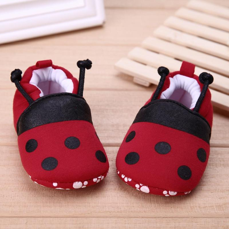 Red Ladybug Yellow Bee Baby Shoes Elastic Band Cotton Blended Soft Infant Anti-slip First Walker Shoes Autumn Winter