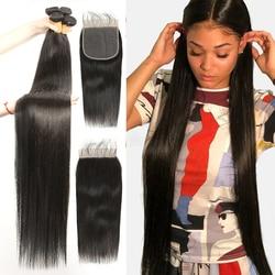 FDX прямые пряди с 6x6 Кружева Закрытие бразильские вплетаемые волосы пряди с закрытием человеческие волосы пряди с закрытием Волосы Remy
