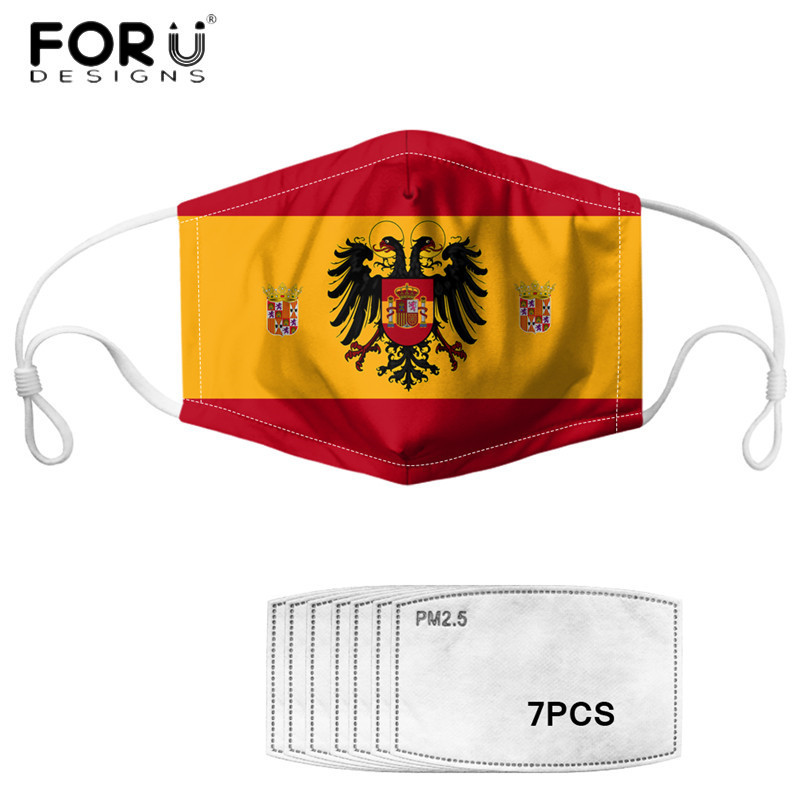 FORUDESIGNS Face Mouth Anti Pollution Mask Disposable Protect Spanish Flag Printed Elastic Dust Proof Mask  Filters Mascarilla
