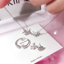 Simple and Happy Jewelry Sets Real 925 Sterling Silver Plain Pendant Necklaces Earings and Rings Christmas Gift Deer and Snow murder plain and simple