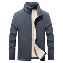 2019 Winter New Stand Collar Men's Polar Fleece Jackets Thicken Warm Coat Big Si