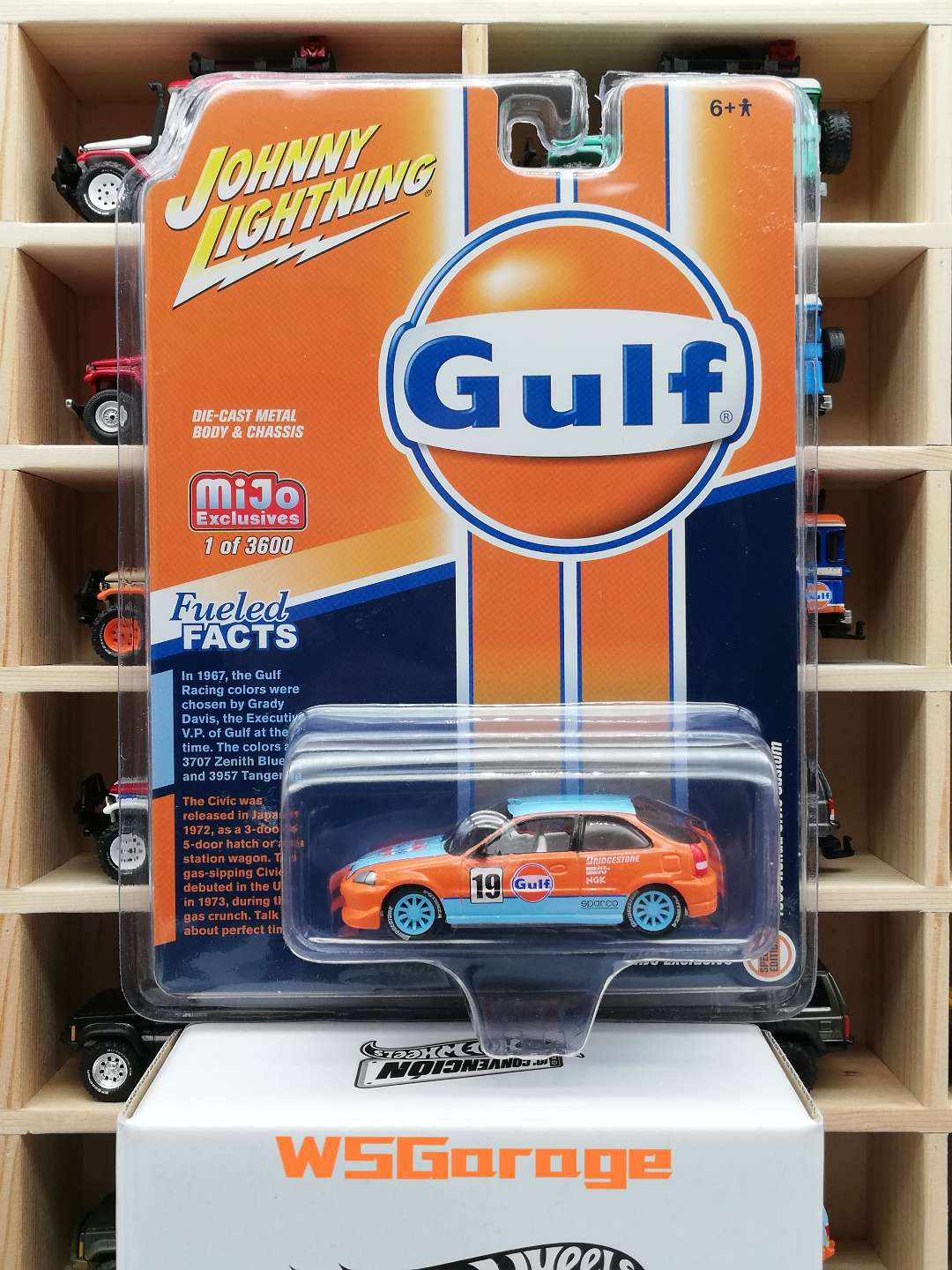 Johnny Lightning Cars 1/64 1998 Honda Civic   Gulf Oil Collective Edition Metal Material Car