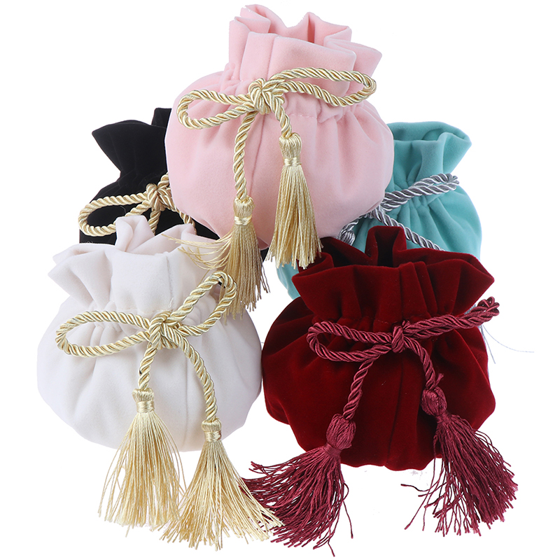 1PCS 12x17cm Round Bottom With Gray Tassel Velvet Drawstring Bag MP3 Jewelry Packaging Pouch Bags Gift & Packing Bags