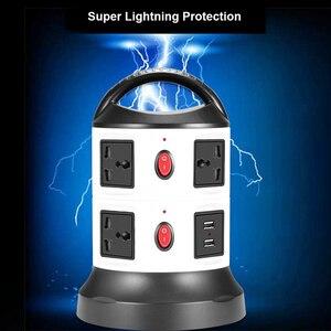 Image 4 - Удлинитель вертикальный с защитой от перенапряжения, с несколькими розетками, 3/7/11/15/19, универсальные розетки с выключателем USB, удлинитель 3 м
