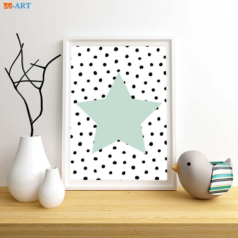 Us 3 32 17 Off Quote And Heart Prints Mint Green Star Poster Cute Wall Art Modern Canvas Painting Kids Room Home Decor In Painting Calligraphy