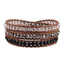 KELITCH Triple-fila marrón trenzado cuero pulsera brazalete pulsera con sarta de cuentas de cristal brazaletes Retro Vintage brazalete cadena
