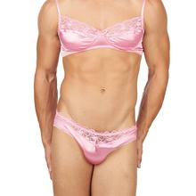 Sissy koronki biustonosz majtki męskie seksowna bielizna Hot fetysz egzotyczne bielizna gejów męskie majtki Bikini Transgender Crossdresser kostiumy tanie tanio spandex Stałe Figi 200516