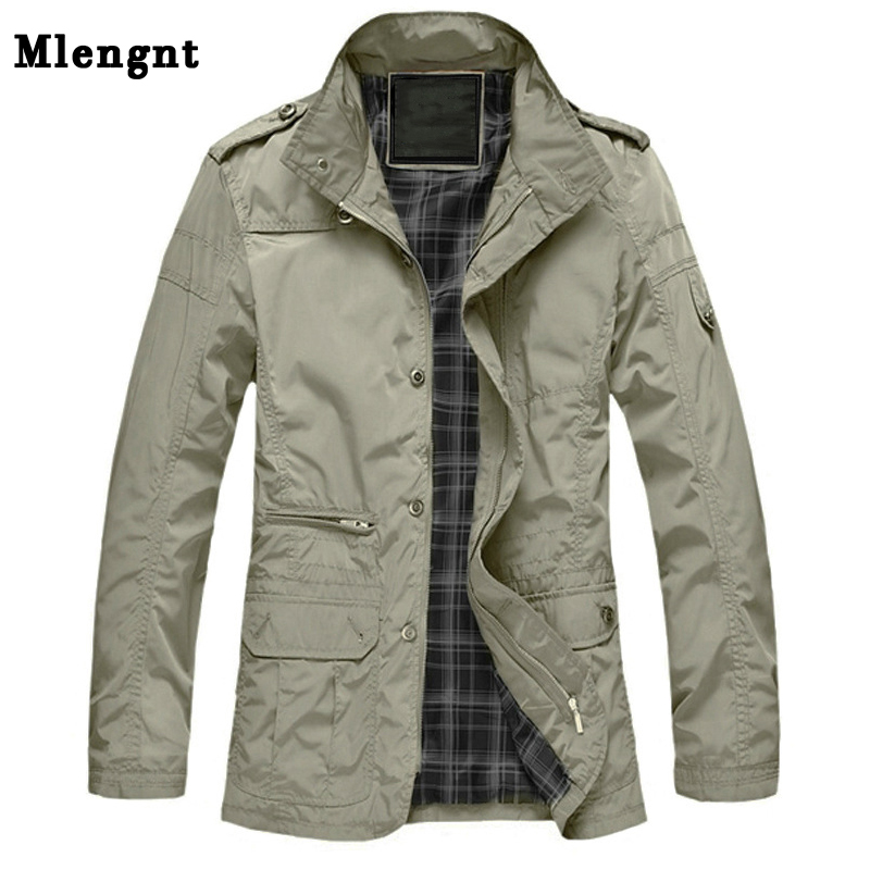 M-5XL Men Long Trench Coat For Spring Autumn Thin Windbreaker Parka Summer Thin Varsity Khaki Outerwear Male Jacket Casual Baggy