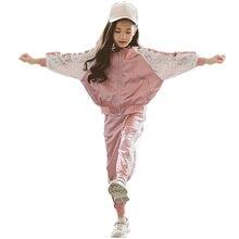 Ubrania dla dziewczynek patchworkowa kurtka i spodnie ubrania dla dziewczynek koronkowe ubrania dla dziewczynek 6 8 10 12 14 rok jesień Sport dres dla dziewczynek