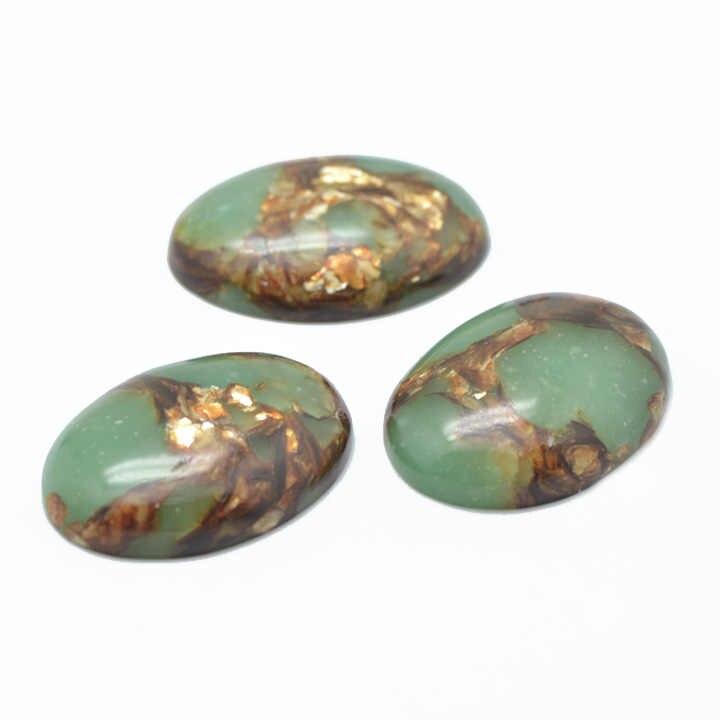 10pcs รูปไข่ทองแดงหิน & Regalite Cabochons,ย้อม,สีสัน,ประมาณ 30 มม.กว้างยาว 40 มม.7.5 ~ 8.5 มม.