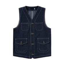Vertical Stripes Vest Men Japan Amekaji Multi-Pocket Vests 2020 Brand Casual Loose Sleeveless Cargo Jacket Tops Waistcoat S-XXL