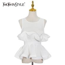 TWOTWINSTYLE Elegant Patchwork Ruffle Shirt For Women O Neck Sleeveless Tunic White Blouse Female Fashion New Tide Clothing 2021