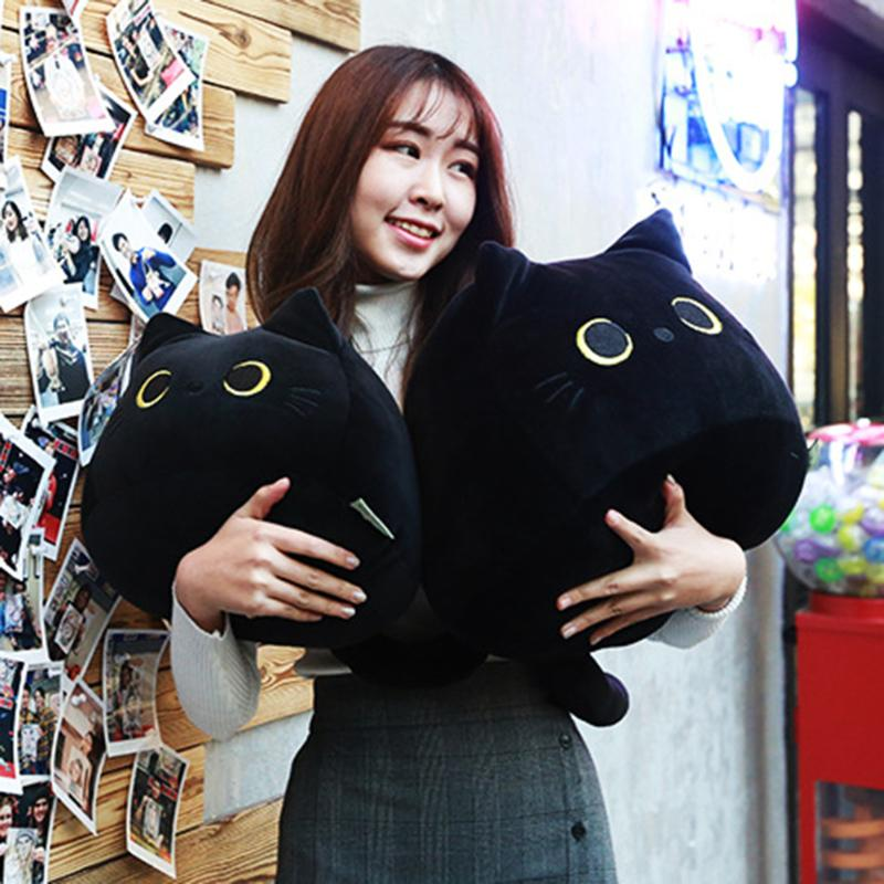 Yousir Black Cat Plush Toy Cartoon Cat Shape Pillow Pillow Pillow Cushion Cuscino per San Valentino Compleanno