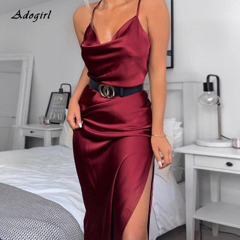 Women Sexy Spaghetti Strap Satin Dress Elegant Square Collar Sleeveless High Slit Red Women Dress Black Clubwear Party Dress
