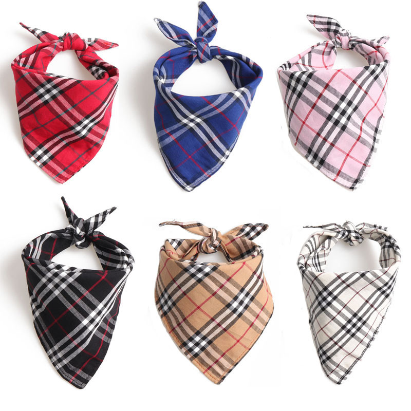 Amin Lattice New Products Pet Triangular Scarf Bandage Cloth Bibs Dog Scarf Double Layer Scotland British Style