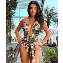 Bañador de una pieza para mujer, traje de baño Sexy, Monokini de realce, de estilo vendaje, ropa de playa XL, para verano, 2020