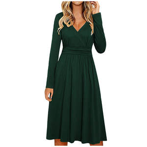 Casual Dress V-Neck Long-Sleeve Party Elegant Winter Women Solid Knee-Length Female Autumn