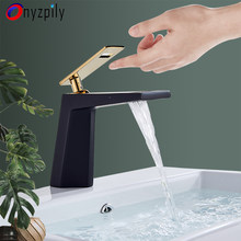 Onyzpily Black White Basin Faucet Sink Faucet With 6 Inch Cover Gold Faucet Deck Mounted Hot and Cold Water Mix Faucets Tap(China)