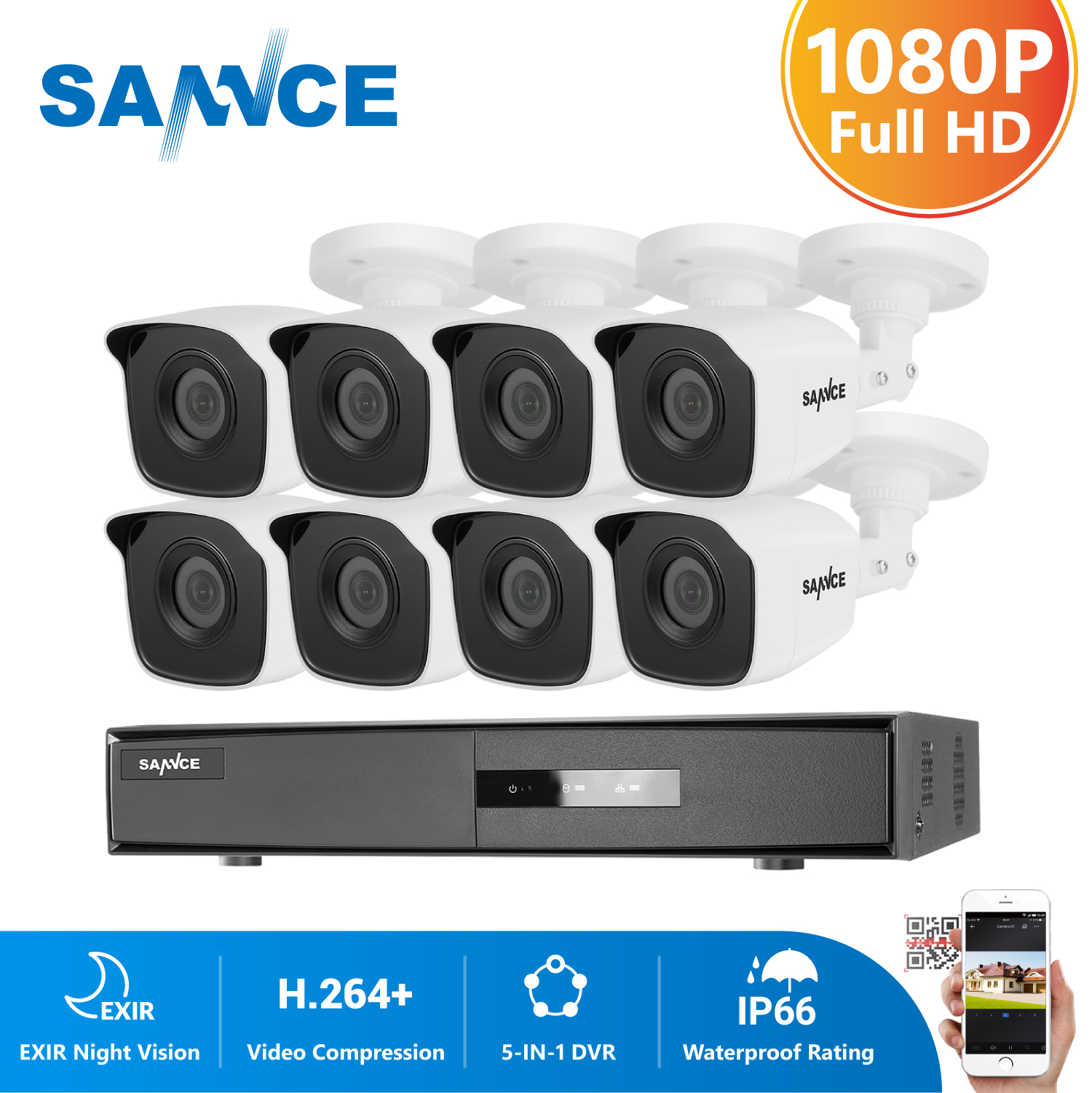 SANNCE 8CH 1080P Video Security System With 5IN1 1080N DVR 4PCS 8PCS 1080P IR Outdoor Weatherproof Camera CCTV Surveillance Kit